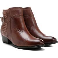 5f761e17e4 ... Bota Couro Cano Curto Shoestock Flat Tressê Feminina - Feminino-Caramelo
