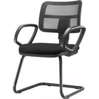 Cadeira Zip Tela Com Bracos Fixos Assento Courino Base Fixa Preta - 54474 - Sun House