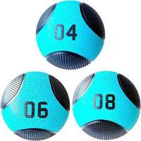 Kit 3 Medicine Ball Liveup Pro 4 6 E 8 Kg Bola De Peso Treino Funcional - Unissex