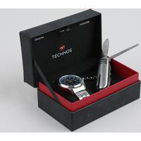 Kit De Relógio Analógico Technos Masculino + Canivete - 2315Kzuk1A Prateado - Único