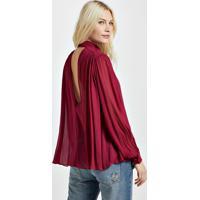 Camisa Decote V Bordeaux Com Manga Longa E Gola Vermelho Disco - 42