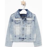 Casaco Jeans Com Bolso- Azul Claropequena Mania