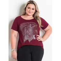 T-Shirt Marguerite Bordô Com Estampa Frontal