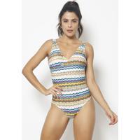 Body Com Transpasse & Recortes - Branco & Azul - Patpatra