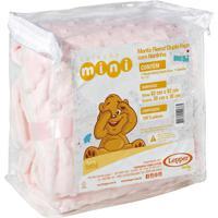 Manta Fleece Dupla Face Naninha Bebê Mini 82 Cm X 82 Cm Com 2 Peças - Produto Importado Lepper Rosa