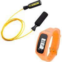 Kit Corda De Pular Em Aço Revestido Amarela Pretorian Relógio Pedômetro Laranja Liveup Ls3348L