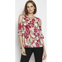 Blusa Floral Com Franzidos - Amarela & Vermelhamoiselle