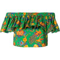 La Doublej Blusa Cropped Floral - Verde