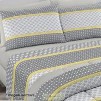 Edredom Royal Plus Queen Size- Cinza & Amarelo- 240Xsantista