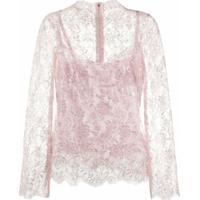 Dolce & Gabbana Blusa Com Renda E Brilho - Rosa