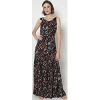 Vestido Longo Floral- Preto & Rosa- Linho Finolinho Fino