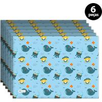 Jogo Americano Mdecore Baleia Azul 6Pçs