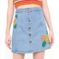Saia Jeans Com Bordados Florais