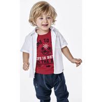 Camisa Bebê Menino Em Tecido De Algodão Com Bolso Frontal Puc