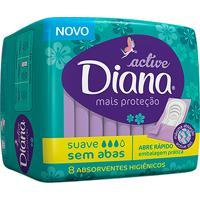Absorvente Diana Active Cobertura Suave Sem Abas Com 8 Unidades