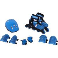 Kit Rollers Patins Radical Ajustável Azul Bel Fix