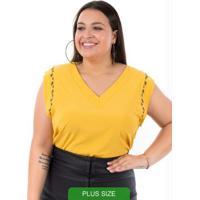 Blusa Com Detalhe De Pedraria Amarelo