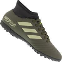 Chuteira Society Adidas Predator 19.4 Tf - Adulto - Verde Escuro