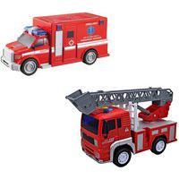 Kit Caminhão Bombeiro E Ambulância De Brinquedo Infantil Carrinho À Fricção Som E Luzes Vermelho Dm