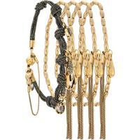 Camila Klein Kit 5 Pulseiras Com Cristais - Dourado