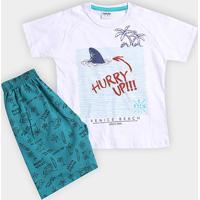 c43cf8f9c5 ... Conjunto Infantil Fakini Kids Venice Beach Masculino - Masculino-Branco +Verde