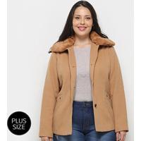 Casaco Queen'S Lã Batida Plus Size Feminino - Feminino-Bege