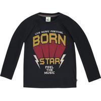 "Camiseta ""Born Star""- Preta & Amarelo Escuro- Kids"