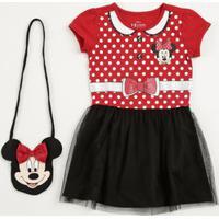 Vestido Infantil Estampa Minnie Brinde Bolsa Disney