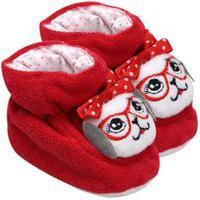 Pantufa Bebê Feminino Plush Atoalhado Vermelha Cachorrinha (Rn) - Pimpolho - Tamanho Rn - Vermelho