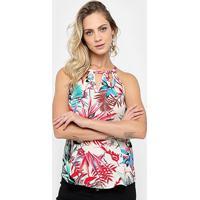 Blusa Lily Fashion Estampada - Feminino-Bege+Vermelho