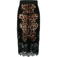 Dolce & Gabbana Saia Lápis Animal Print - Marrom