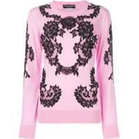 Dolce & Gabbana Pullover Com Aplicação De Renda - Rosa