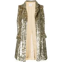 P.A.R.O.S.H. Embellished Draped Waistcoat. - Dourado