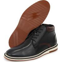 Sapato Casual Masculino Cano Alto Conforto Couro Preto - Preto - Masculino - Couro LegãTimo - Dafiti