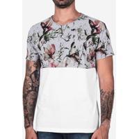 Camiseta Meio A Meio Floral Mescla 101977