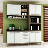 Cozinha Compacta New Vitoria 8 Pt 3 Gv Avelã Com Bianco