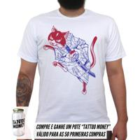 Gato Samurai - Camiseta Clássica Masculina