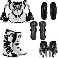 Kit Pro Tork Colete Branco + Bota Motocross 42 + Joelheiras + Cotoveleiras G + Luvas G