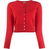 N.Peal Cardigan Cropped De Cashmere - Vermelho