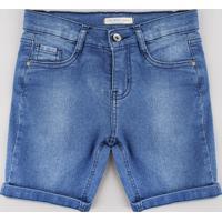 Bermuda Jeans Infantil Com Bolsos Azul Médio