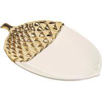 Prato Decorativo Noz- Branco & Dourado- 3X18X12Cm