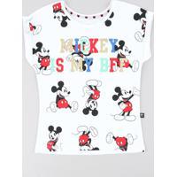 Blusa Infantil Mickey Com Glitter Manga Curta Decote Redondo Off White