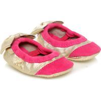 Sapato Infantil Bebê Pampili Basic Dourado E Rouge Liso Dourado