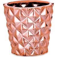 Cachepot Metalizado- Ros㪠Gold- 7Xã˜7,5Cm- Martmart