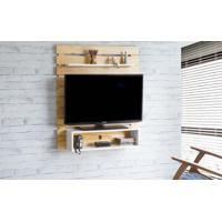 Painel Para Tv Standby - Estante Para Tv Até 45 Polegadas Natural E Branco -100X23X115 Cm