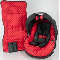 Conjunto Capa Para Bebê Conforto Com Acolchoado Extra E Capa De Carrinho Vermelho Alan Pierre Baby 0 A 13 Kg Bola Preta