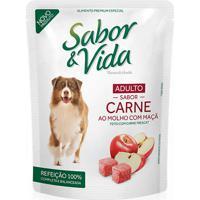 Ração Para Cães Sabor & Vida Flavour E Health Adultos Sabor Carne Ao Molho Com Maçã Sachê 100G