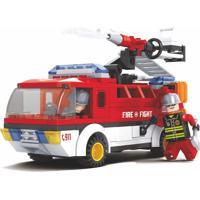 Blocos De Encaixe Xalingo Bombeiros Resgate Terrestre - 192 Peças 2609 - Vermelho