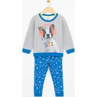 Pijama Infantil Em Moletom Com Estampa Dog - Tam 1 A 4