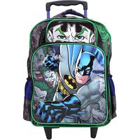 Mochila Infantil Xeryus Escolar Rodas Batman Mad House - Masculino-Cinza+Verde